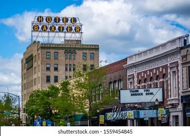 Bozeman, MT, USA - June 5, 2019: The seven story Hotel Baxter building along the city