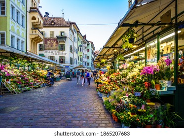 Bozen, Italy - September 17: famous old town and square with historic buildings of Bozen on September 17, 2020