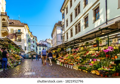 Bozen, Italy - September 18: famous old town and square with historic buildings of Bozen on September 18, 2020