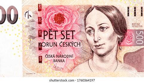 Bozena Nemcova, famous czech writer portrait. Pink rose blossom. Czech writer Bozena Nemcova (Barbora Pankel - Panklova) (1820 - 1862). Portrait from Czech Republic 500 Korun 2009 Banknotes Collection
