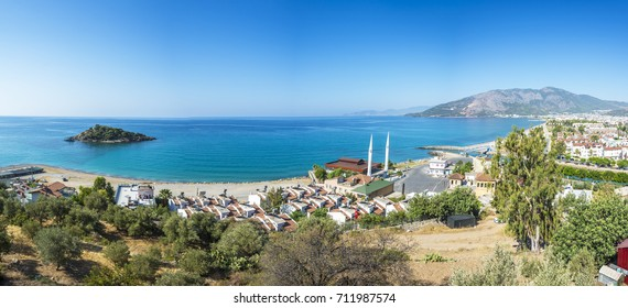 Bozyazi Town panoramic view from hill in Mersin