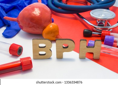 BPH concept of benign prostatic hypertrophy is enlargement of prostate gland. Medical abbreviation BPH is surrounded by models of bladder with prostate, laboratory test tubes with blood, stethoscope