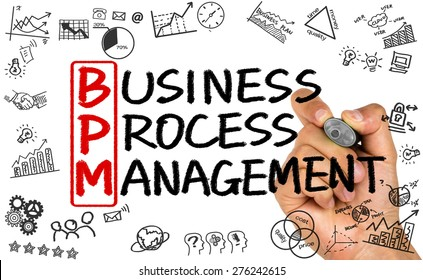 BPM concept:business process management handwritten on whiteboard