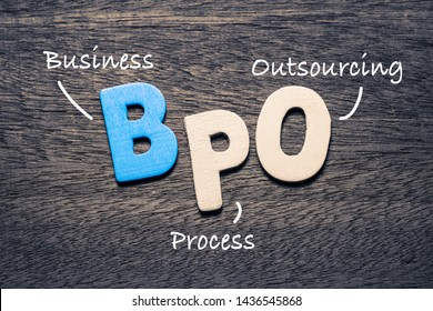 BPO wooden alphabets on wood background with text acronym (Business Process Outsourcing)