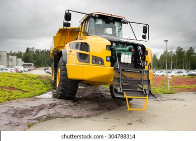 Braas, Sweden, June 24, 2015: Articulated dump truck Volvo ready for service, June 24, 2015 Braas, Sweden