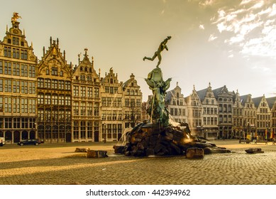 Brabo fountain in front of the town hall on the Great Market Square of Antwerp, Belgium