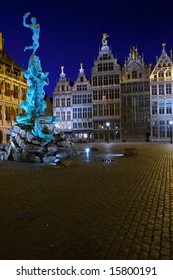 Brabo Fountain and guild houses at Grote Markt, Antwerp, Belgium