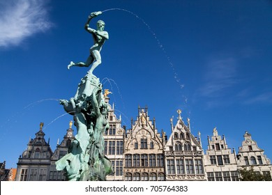 Brabo fountain and guildhalls in Antwerp, Belgium.