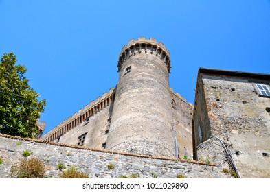 BRACCIANO, ITALY - April 12, 2014: Medieval Castle dominating the town of Bracciano in central Italy