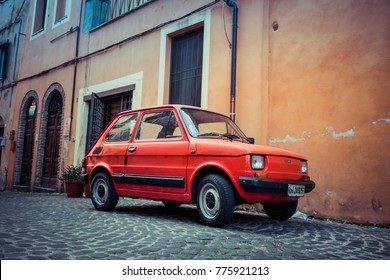 BRACCIANO, ITALY - October 2017:  Fiat 126 Bambino in red