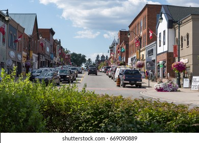 Bracebridge, Ontario - August 2016. Historic downtown core with small shops and summer tourists