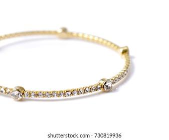 bracelet with diamonds on white background