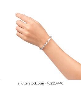 bracelet inlaid with gemstones on hand isolated on white background