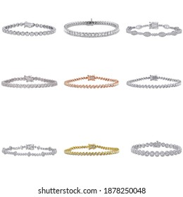 bracelets diamond isolated jewelry collection