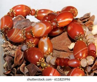 Bracelets made of natural carnelian