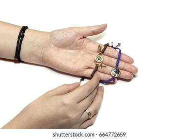 Bracelets on a female hand closeup