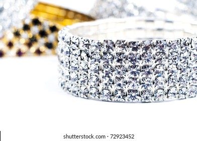 Bracelets on white background