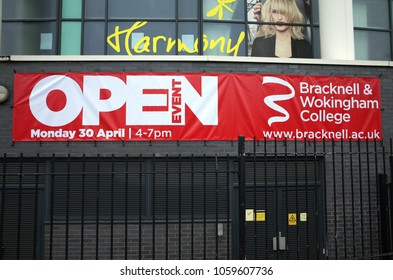 Bracknell, England - April 01, 2018: Banner for an Open Event at Bracknell & Wokingham College in England. Colleges in the UK provide Advanced Level education, vocational and adult learning courses