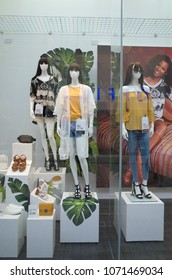 Bracknell, England - April 18, 2018: Window display of Spring and Summer fashion clothing for women in the New Look store situated in Bracknell, England