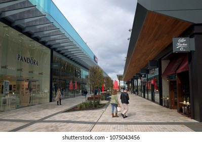 Bracknell, England - April 23, 2018: Wide Angle view of shops and pedestrians in the new Lexicon shopping centre in Bracknell, England