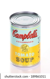 BRACKNELL, ENGLAND - APRIL 29, 2014: Limited edition can of Campbell's Tomato Soup produced in collaboration with The Andy Warhol Foundation to commemorate his artwork series, Campbell's Soup Cans