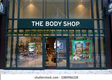Bracknell, England - April 30, 2018: The Body Shop store in Bracknell, England. The Body Shop, is a British cosmetics, skin care and perfume company founded in 1976 by Dame Anita Roddick