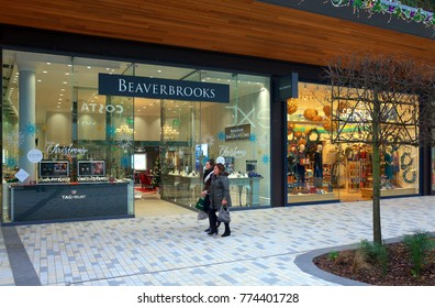 Bracknell, England - Dec 02, 2017: People passing by the Beaverbrooks jewelry store in the new Lexicon shopping center in Bracknell, England