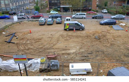 Bracknell, England - February 20, 2017: Cleared land in an urban environment previously used for commercial purposes and now awaiting construction development in Bracknell, England