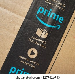 Bracknell, England - January 08, 2019: Close up of Amazon Prime packing tape on a cardboard box