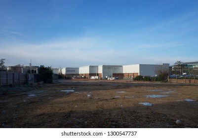 Bracknell, England - January 31, 2019: A vacant site or brownfield land awaiting development in the town of Bracknell, England