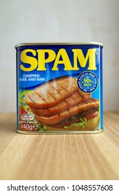 Bracknell, England - March 18, 2018: Unopened can of Spam, a blend of chopped pork and ham made under licence by Hormel Foods