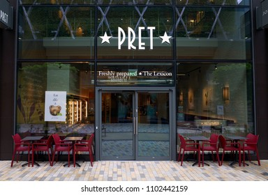Bracknell, England - May 30, 2018: Exterior of Pret A Manger a sandwich shop chain which provides freshly made snacks, breakfasts and hot and cold beverages in Bracknell, England