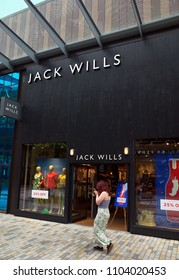 Bracknell, England - May 30, 2018: A pedestrian passes by the Jack Wills fashion clothing store in Bracknell, England. Jack Wills is a British clothing brand founded in 1999