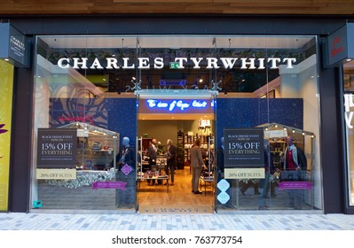 Bracknell, England - Nov 25, 2017: Exterior of the Charles Tyrwhitt store with people inside in the town of Bracknell, England. Charles Tyrwhitt is a British clothing retail company providing menswear