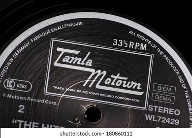 Bracknell, England, UK - March 10, 2014: Close up of a vinyl record and the Tamla Motown label on March 10th, 2014. Motown was founded by Berry Gordy Jr. in 1959 in Detroit, Michigan,USA