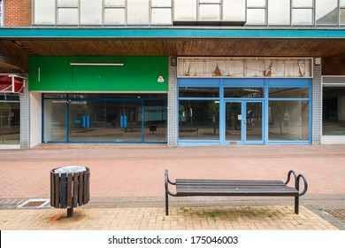 BRACKNELL, UK - AUGUST 11, 2013: An empty highstreet in the Berkshire town of Bracknell. Awaiting demolition to make way for re-development.