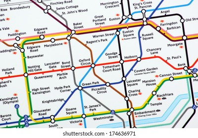 BRACKNELL, UK - FEB 01, 2014: A close up of the main section of the London Underground Map