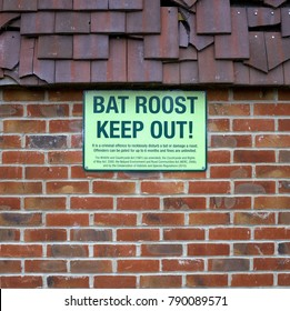 Bracknell,England - January 09, 2018:Bat Roost Keep Out sign on an empty building in Bracknell, England as a reminder of the environmental and conservation laws regarding bat species in the UK