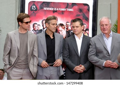 Brad Pitt, George Clooney, Matt Damon, & Jerry Weintraub Handprint & Footprint ceremony For Ocean's Thirteen's at Gruman's Chinese Theater Los Angeles, CA June 5, 2007