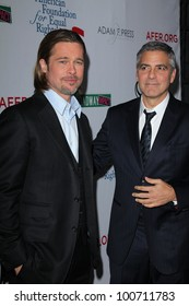 """Brad Pitt, George Clooney at the West Coast Premiere Reading of """"8"""" Shows, Wilshire Ebell Theater, Los Angeles, CA 03-03-12"""