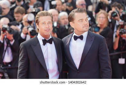 "Brad Pitt and Leonardo DiCaprio attend the screening of ""Once Upon A Time In Hollywood"" during the 72nd annual Cannes Film Festival on May 21, 2019 in Cannes, France."