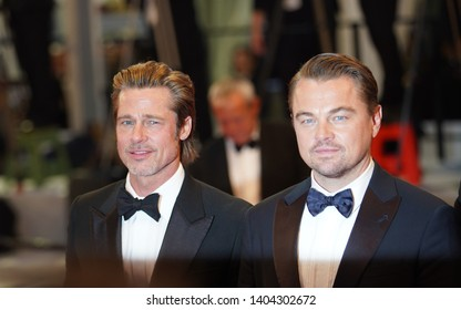 """Brad Pitt and Leonardo DiCaprio attend the screening of """"Once Upon A Time In Hollywood"""" during the 72nd annual Cannes Film Festival on May 21, 2019 in Cannes, France."""