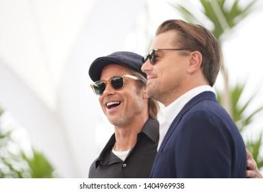 """Brad Pitt and Leonardo DiCaprio attend thephotocall for """"Once Upon A Time In Hollywood"""" during the 72nd annual Cannes Film Festival on May 22, 2019 in Cannes, France."""