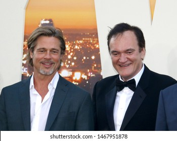 Brad Pitt and Quentin Tarantino at the Los Angeles premiere of 'Once Upon a Time In Hollywood' held at the TCL Chinese Theatre IMAX in Hollywood, USA on July 22, 2019.