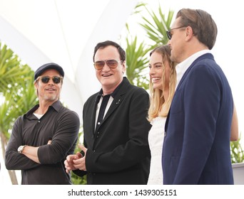 "Brad Pitt, Quentin Tarantino, Margot Robbie  attend the photocall for ""Once Upon A Time In Hollywood"" during the Cannes Festival on May 22, 2019 in Cannes, France."