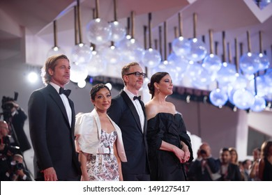 Brad Pitt, Ruth Negga, James Gray and Liv Tyler attend the red carpet of AD ASTRA during the 76th Venice Film Festival on August 29, 2019 in Venice, Italy.