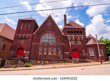 Braddock, Pennsylvania, USA 6/29/2019 The 1st United Presbyterian Church on Parker Avenue built in the late 1800s