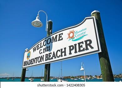 BRADENTON BEACH, ANNA MARIA ISLAND, FL/USA - May 19, 2019: Bradenton Beach Historic Pier on Anna Maria Island, Florida