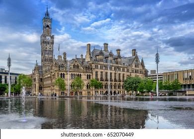 Bradford city Hall in City Park a town in west Yorkshire of England