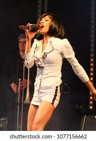 Bradford, England - July 29 2017: Begum X the singer from the band Ska Vengers performing on stage at bradford festival